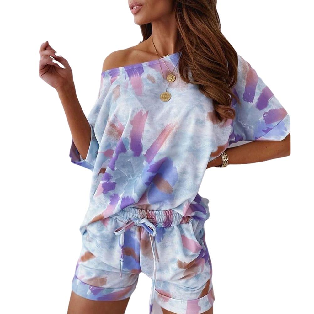 Women's Tie-Dye Print Outfit Casual Loose Short Sleeve T-Shirts + Drawstring Shorts Set