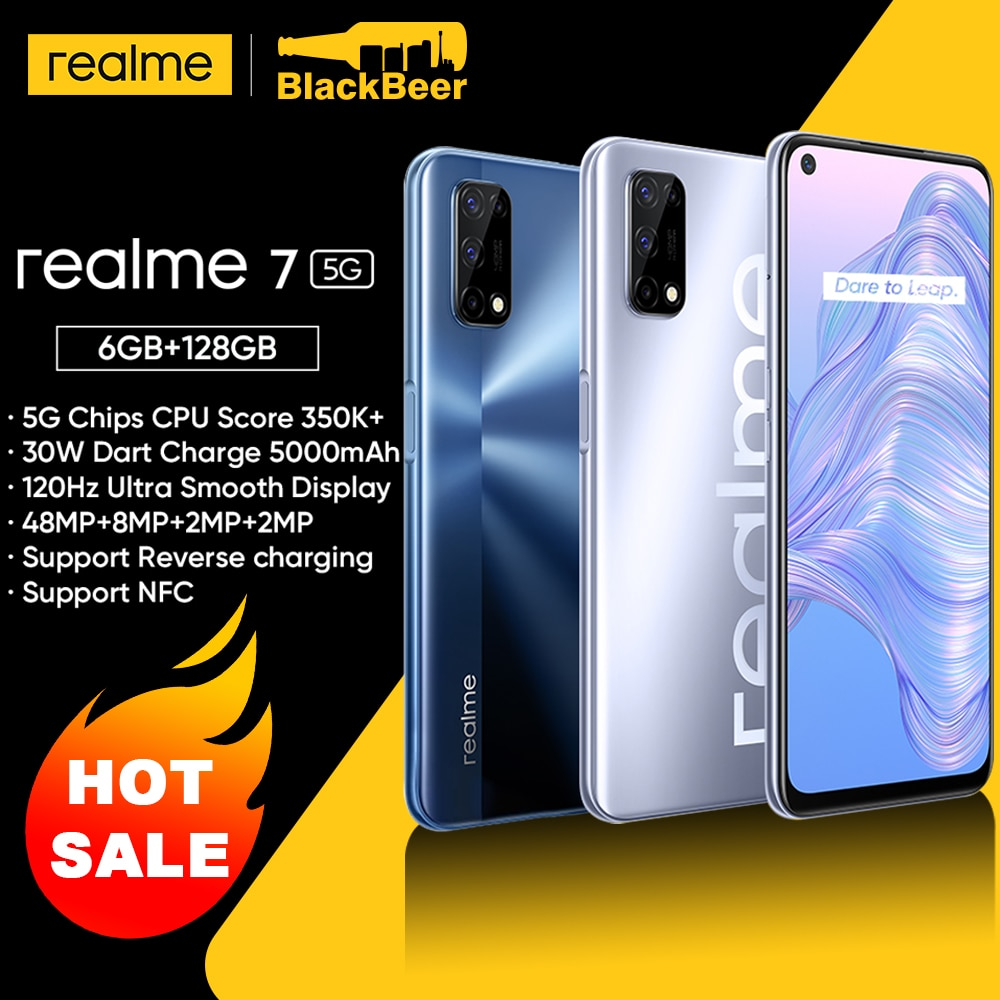 realme 7 Dual 5G Mobile Phone 6.5 Inch 120Hz Screen Dimensity 800U CPU Smartphone Android 10 6GB 128GB Cellphone 30W Dart Charge