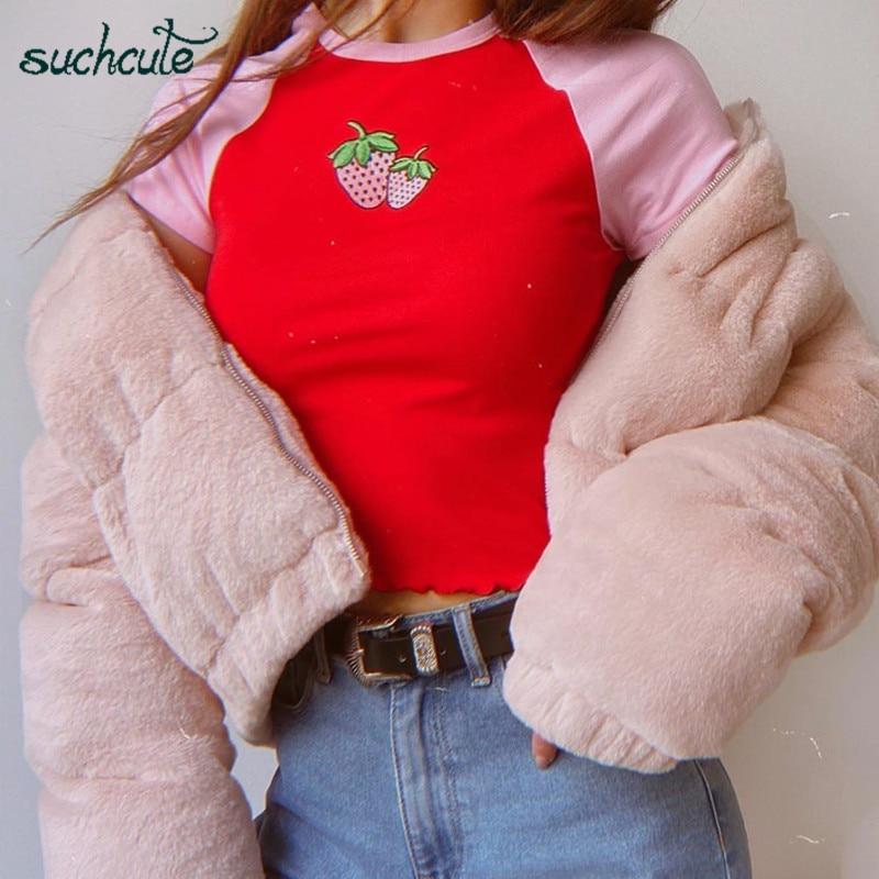 SUCHCUTE camiseta femenina de encaje tops Rosa salvaje Camiseta de algodón fresa verano 2020 de manga corta gótico mujeres trajes de fiesta