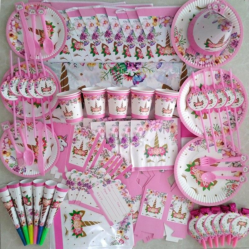 Décoration danniversaire Kit de vaisselle jetable   Fournitures de fête licorne, décoration de gâteau, tasse assiette en papier, bannière décor de réception-cadeau pour bébé