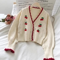 womens knitted sweater cardigen 2021 college style temperament v neck cherry embroidery loose short long sleeved sweaters