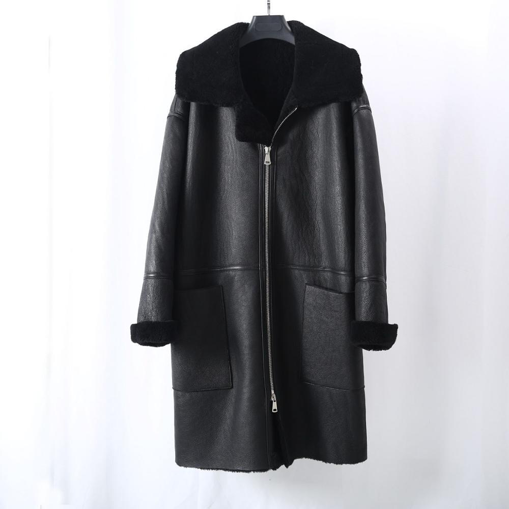 2020 New Women Winter Long Loose Style Australia Lamb Fur Shearling Coat Black Warm Thicken Real Natural