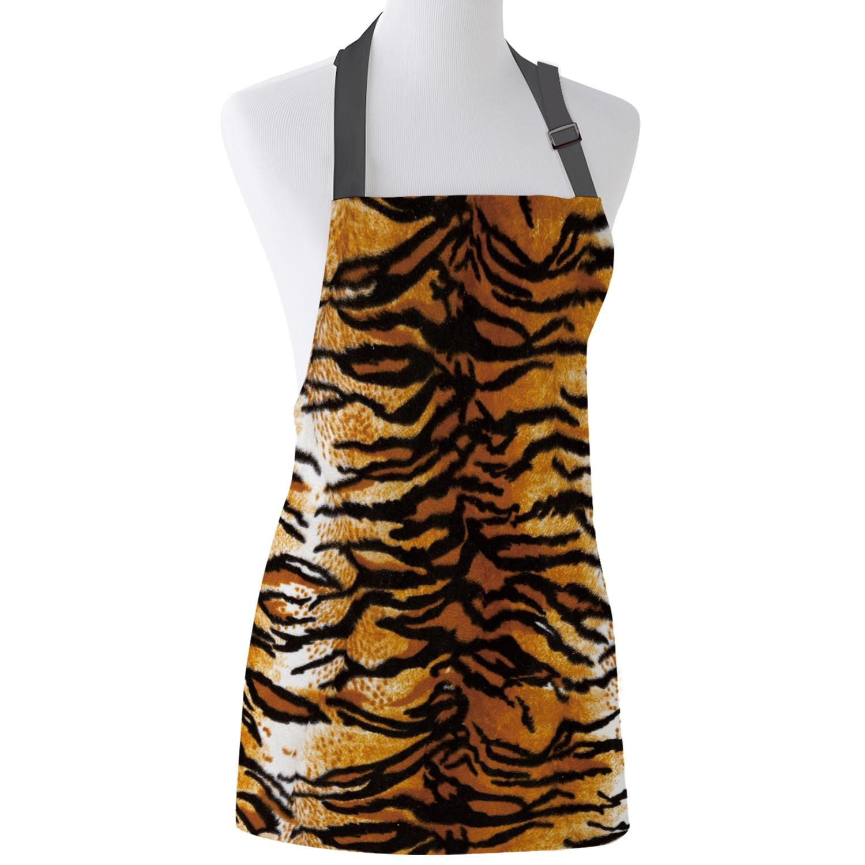 Delantal de piel de tigre estampado amarillo, pechera para cocina Unisex con cuello ajustable para cocinar jardinería
