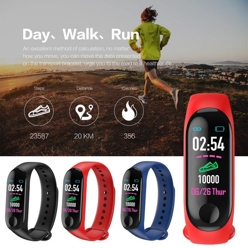 Podómetro deportivo M3Plus reloj de pulsera inteligente Bluetooth Monitor cardíaco contador banda de muñeca para fitness reloj pulsera