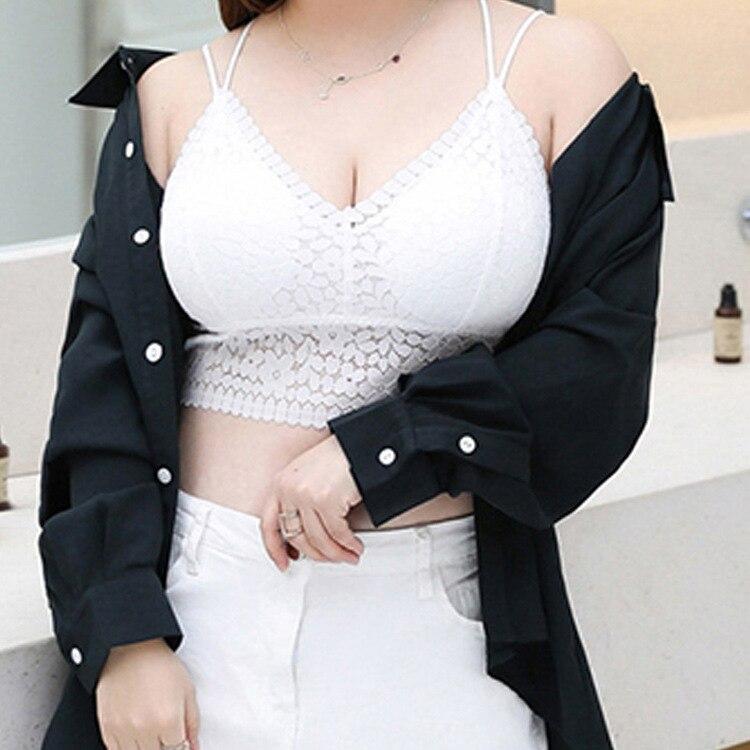 Talla grande sujetador de mujer grasa Mm 200 Anti-exposición Render chaleco Sexy cómodo transpirable encaje borde ropa interior
