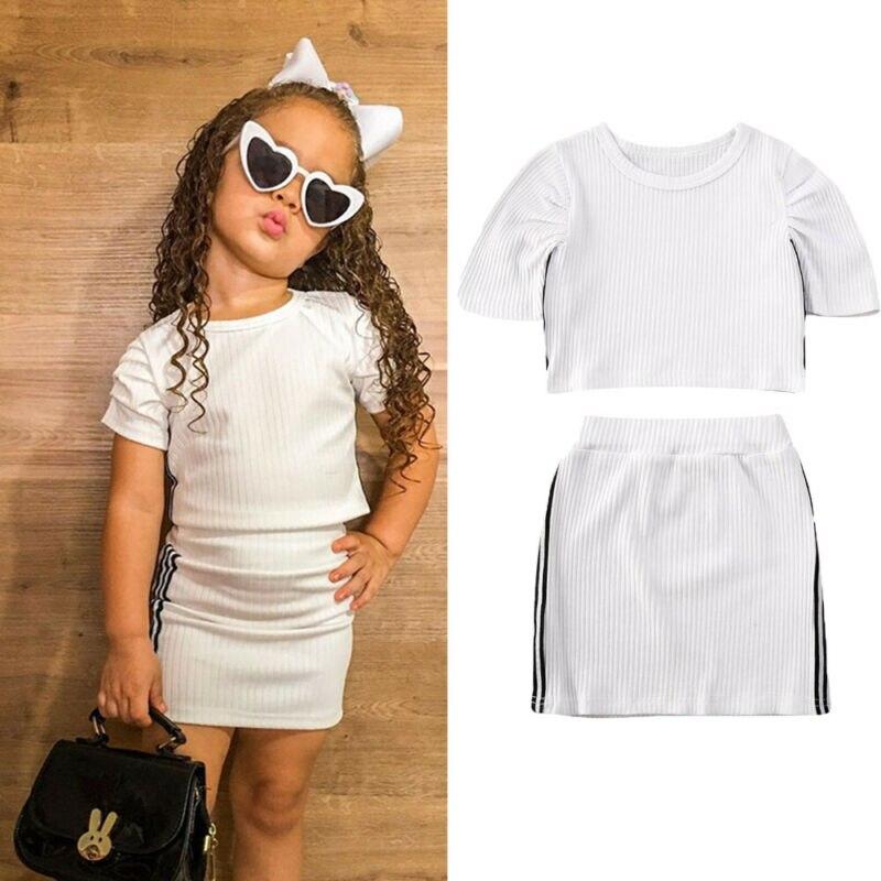 Conjuntos de ropa para niña de 0 a 5 años, camiseta de manga corta a rayas, Top corto + Mini falda, conjunto de tenis para niñas, chándal de verano para niña bebé