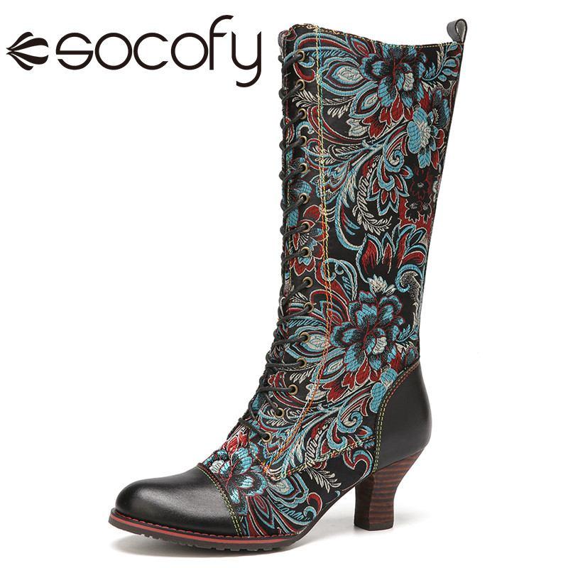 SOCOFY-أحذية ركوب جلدية عتيقة للنساء ، أحذية طويلة غير رسمية فوق الركبة بأربطة ، 2020
