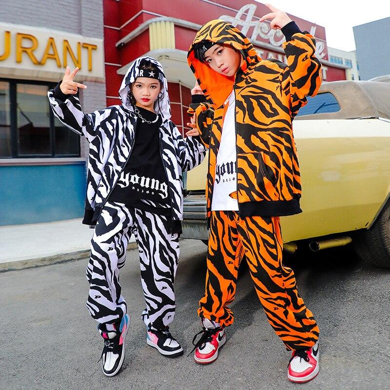 Детская одежда в стиле K-POP, толстовка с капюшоном и принтом для девочек и мальчиков, свитшот на молнии, уличная одежда, штаны для бега, танцев...