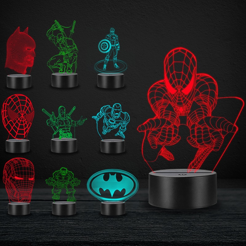 Cartoon LED 3D Lamp Movie Marvel Hero Spiderman Deadpool Hulk Iron Man Home Decorative USB Night Light Atmosphere Chirstmas Gift