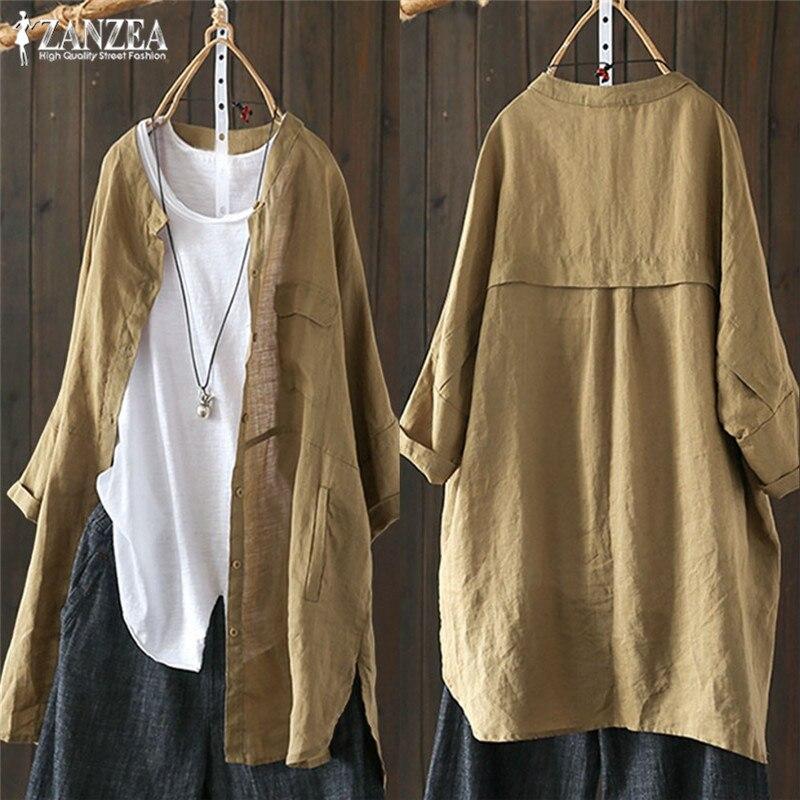 Blusa de lino para mujer de talla grande otoño 2020 ZANZEA informal cárdigans con botones de manga larga para mujer Blusas túnica camisas 5XL