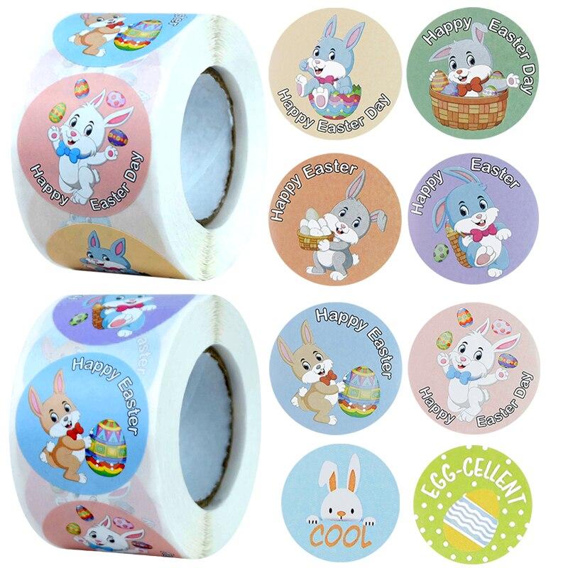 500Pcs Glücklich Ostern Aufkleber Nette Ostern Kaninchen Ei Selbst Adhesive Aufkleber Label Für Ostern Party Kinder Geschenke Tasche Box decor Tags