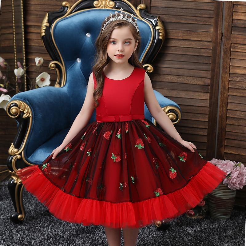2020 Kids Tutu Birthday Princess Party Dress for Girls Infant Lace Children Bridesmaid Elegant Dress