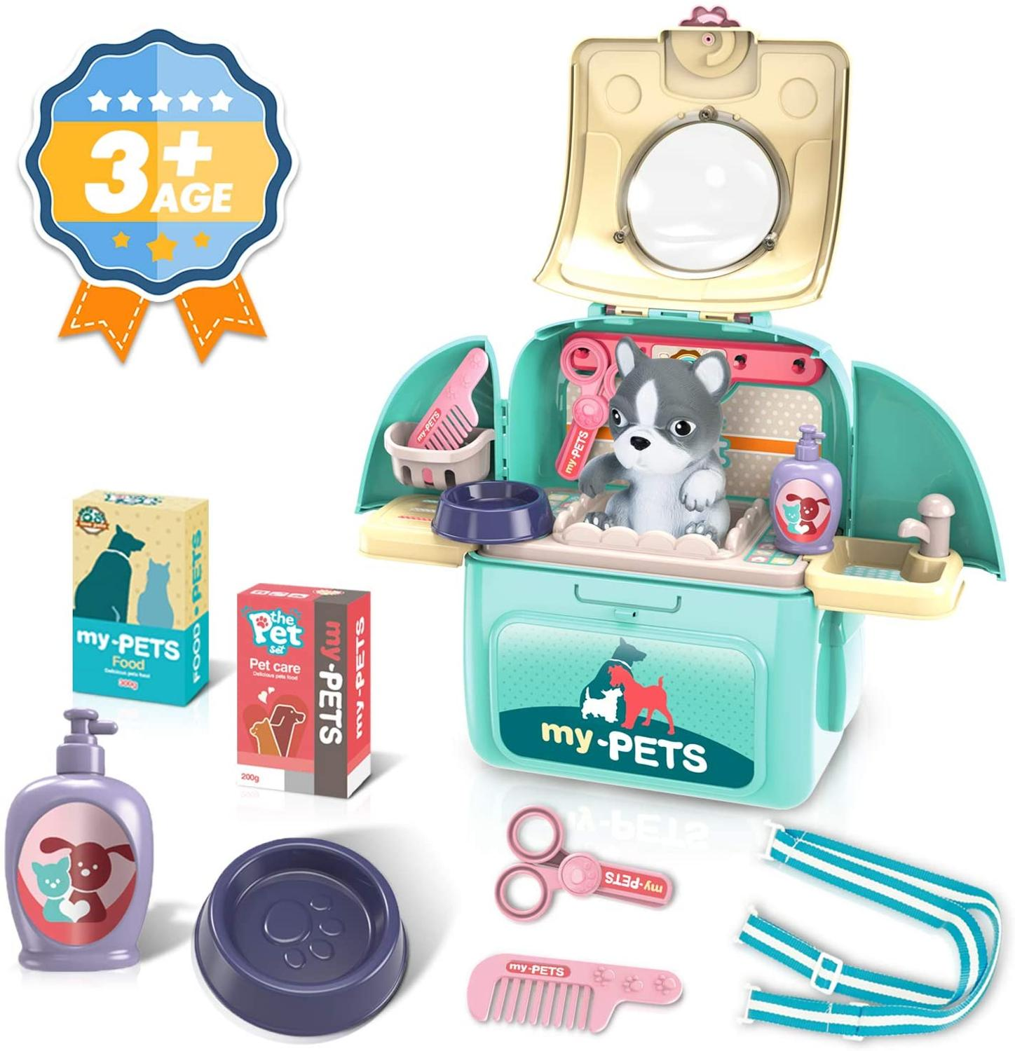 Pet Care Playset Set, Pet Veterinarian Playset with Backpack Pretend Play Toys for Kids Doctor Pretend Play Vet Kit School Toys