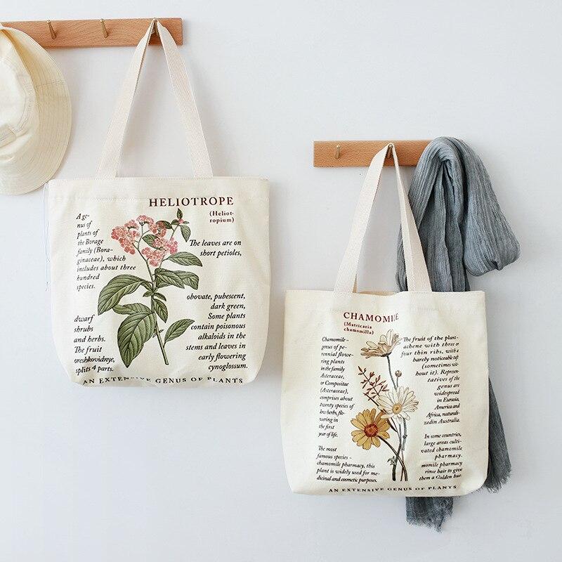 Retro Literary Canvas Bag Women's Shoulder Bag Fashion Cotton Letter Shopping Shopper Ladies Hand Ba