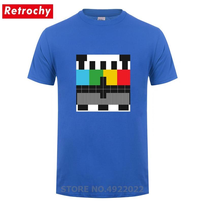 Retro TV Printed Test Pattern T-Shirts Unisex Funny Design Test Signal Bars On Television T Shirts Men Streetwear Stylish Tshirt