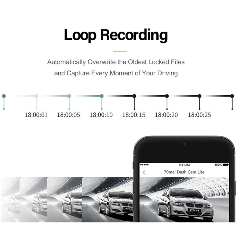 International 70mai Car DVR 1080P 2'' LCD Screen HD Dash board 70mai Lite Camera APP Control Driving Recorder 130 FOV  Dash Cam