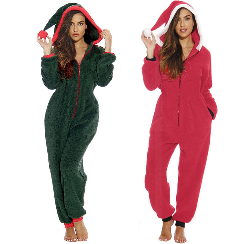 Lindo sueño de las mujeres mono con capucha de color rojo verde onesies elegante sexy Top dulce calidad Pijamas