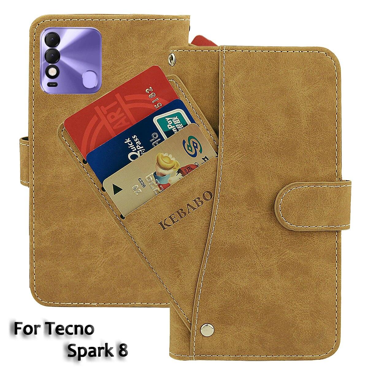 Vintage Leather Wallet Tecno Spark 8 Case 6.52