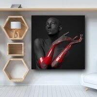 Rouge et noir nue tete nue fille affiche et imprime nordique mode mur Art pour salon photos maison couloir decoration