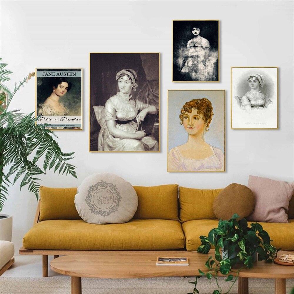 El retrato de Jane Austen Vintage Posters e impresiones lienzo arte pintura cuadros de pared para la decoración de la habitación quadro cuadros