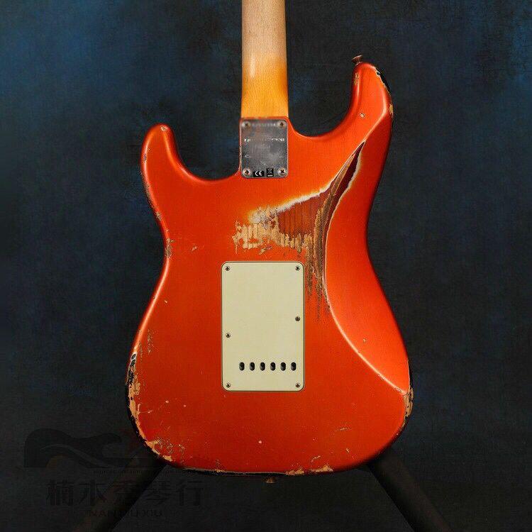 Red color Electric Guitar,rosewood fingerboard gitaar.relics by hands.High quality pickups .6 stings guitarra. enlarge