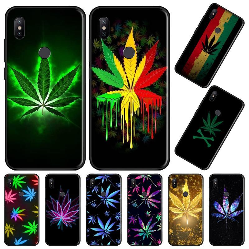 Erva daninha marihuanna planta cor coque escudo caso de telefone para xiaomi redmi nota 4 4x5 6 7 8 pro s2 plus 6a pro casco casco