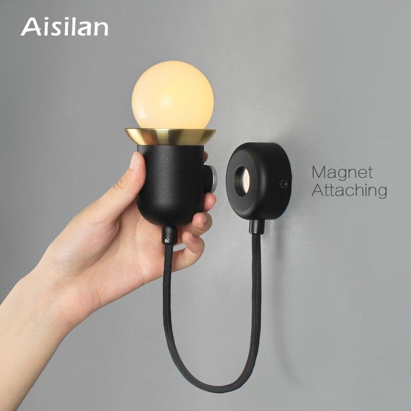 Lámpara de pared LED Aisilan, lámpara de pared para cabecera, aplique de pared con imán creativo nórdico, luz de pared Separable para dormitorio, vestíbulo, estudio