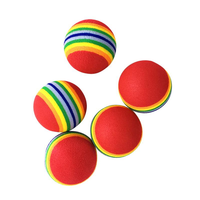 Nueva pelota de juguete de entrenamiento colorida e interactiva de Gato para mascotas resistente a los arañazos, pelota de juego de espuma arcoíris