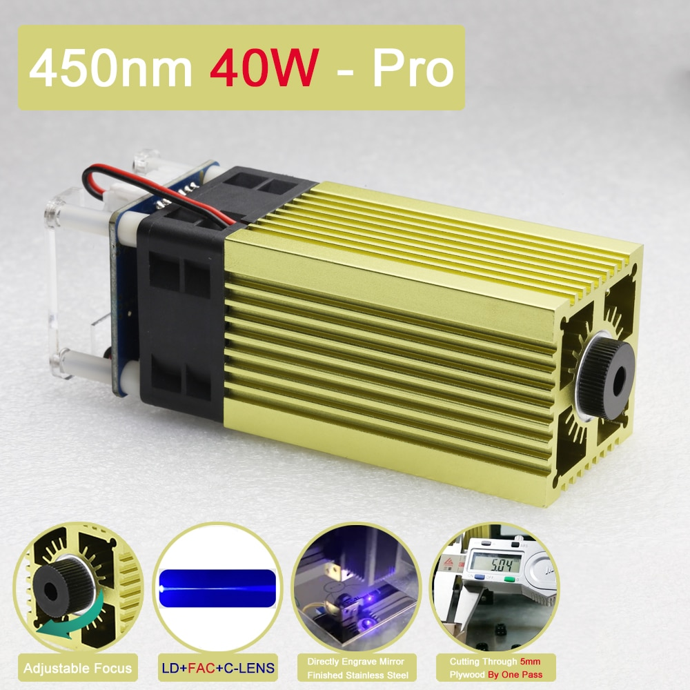 جديد 450nm 40 واط وحدة النقش بالليزر عالية الطاقة قابل للتعديل البؤري مع تعديل TTL/PWM