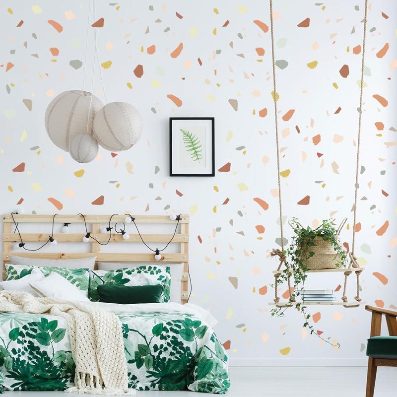 6 hojas = 144 Uds., pegatinas de vinilo para pared DIY con piedras de Color creativas, 5 tipos de decoración para el hogar para el salón, dormitorio, viernes Moral