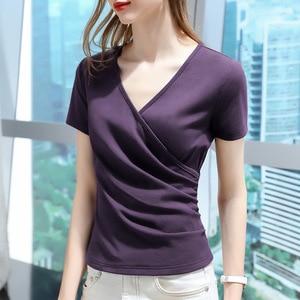 Short sleeve T-shirt women's European women's 2021 summer new cross V-neck half sleeve cotton T-shirt fold waist top