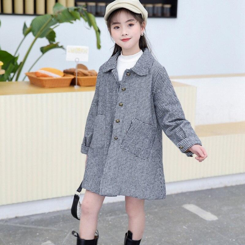 primavera outono casaco de la para a menina xadrez criancas outerwear turn collar