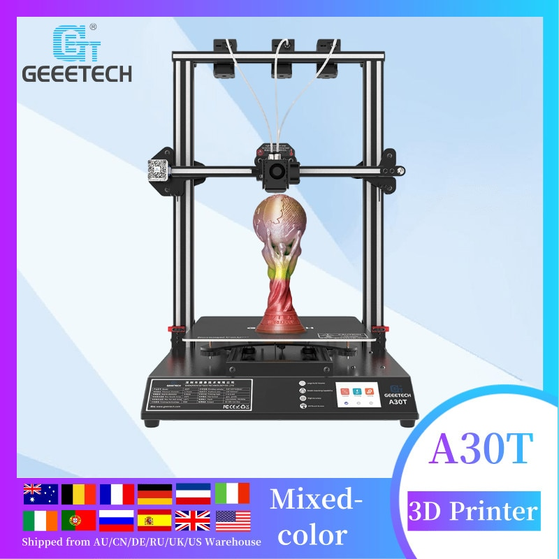 Geeetech A30T 3-in-1-out auto leveling mix color 3d printer with Filament Fetector FDM impresora 3d 3d printer large