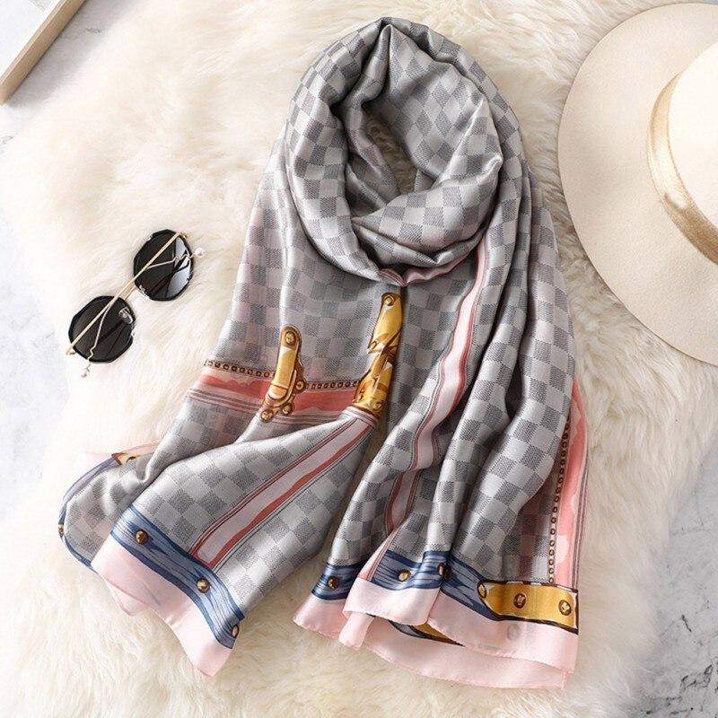 Bufanda femenina coreana a la moda chal largo a cuadros doble uso invierno cálido estampado cuero hebilla Collar gris polvo rizador> ¡175cm! w