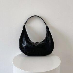 2021 New Women's Bag Fashion Crocodile Hobos Female Handbags Korean Style Alligator Oxter Bag  PU Leather Ladies Shoulder Bag