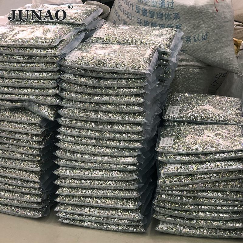 JUNAO Wholesale 100Gross 14400pc 36 AB Color SS6 8 10 12 16 20 30 Flatback Glass Rhinestone Bulk Packag Non Hotfix Crystal Stone
