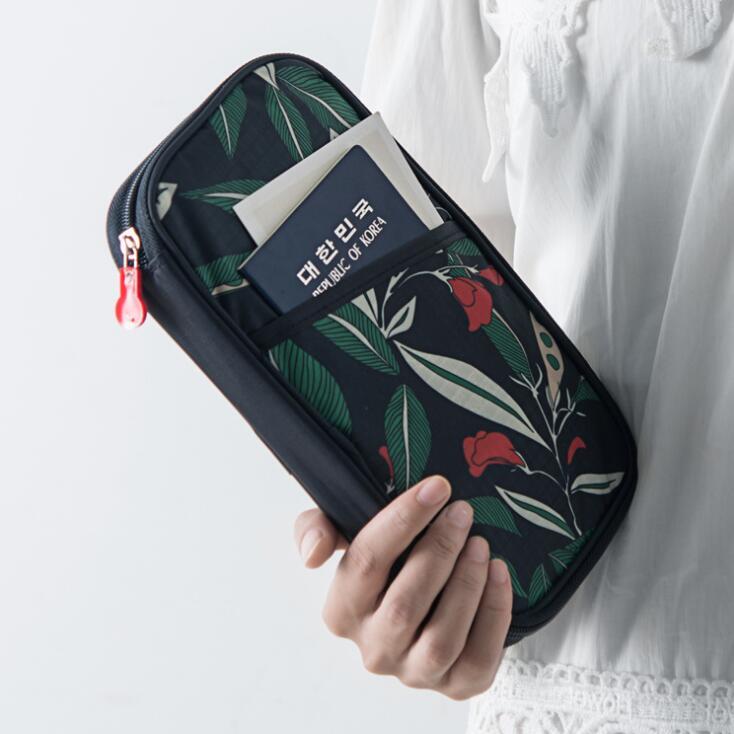 New Coreano Flores de Pasta de Arquivo Portátil Saco de Documentos de Viagem Passaporte Cartões de Banco Organizador De Armazenamento Bolsa de artigos de Papelaria Do Escritório