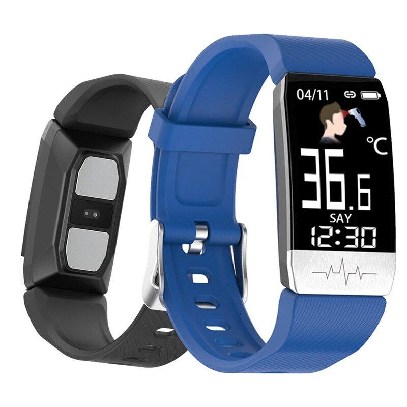 T1S смарт-браслет в режиме реального времени с температурой сердца фитнес-трекер кровяное давление водонепроницаемое управление мульти-спортивный режим смарт-браслет