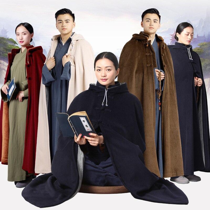 Túnicas de Kung fu, trajes de monje budista, ropa zen, manto de kung fu, manto a prueba de frío, abrigo largo para hombre, capa con capucha, túnicas de Meditación Zen