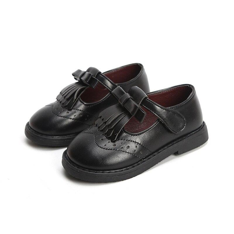 Tassel Girls Leather Shoes Black School Shoes For Girls Kids Sneakers Children Flats Princess Leathe