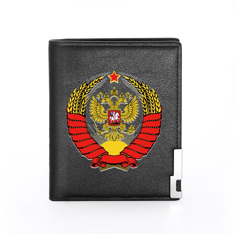 Retro Classic CCCP Eagle Printing  Leather Wallet Men Women Bifold Credit Card Holder Short Purse Male