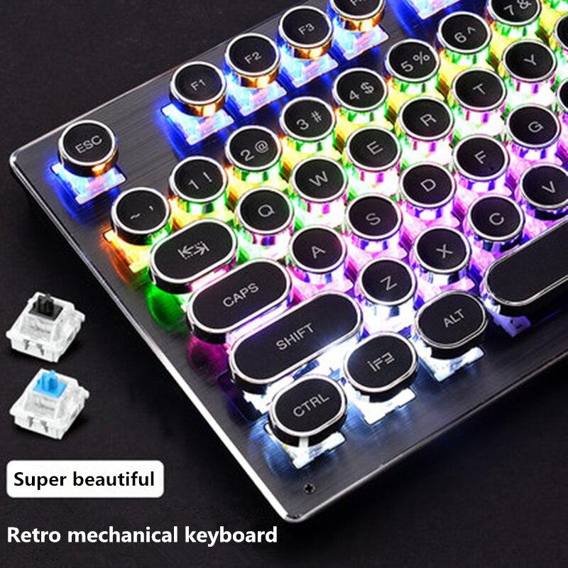 Steampunk Real Teclado mecánico de escritorio del ordenador portátil cable USB periférico de 104-clave Retro gorra redonda con retroiluminación de Panel de Metal