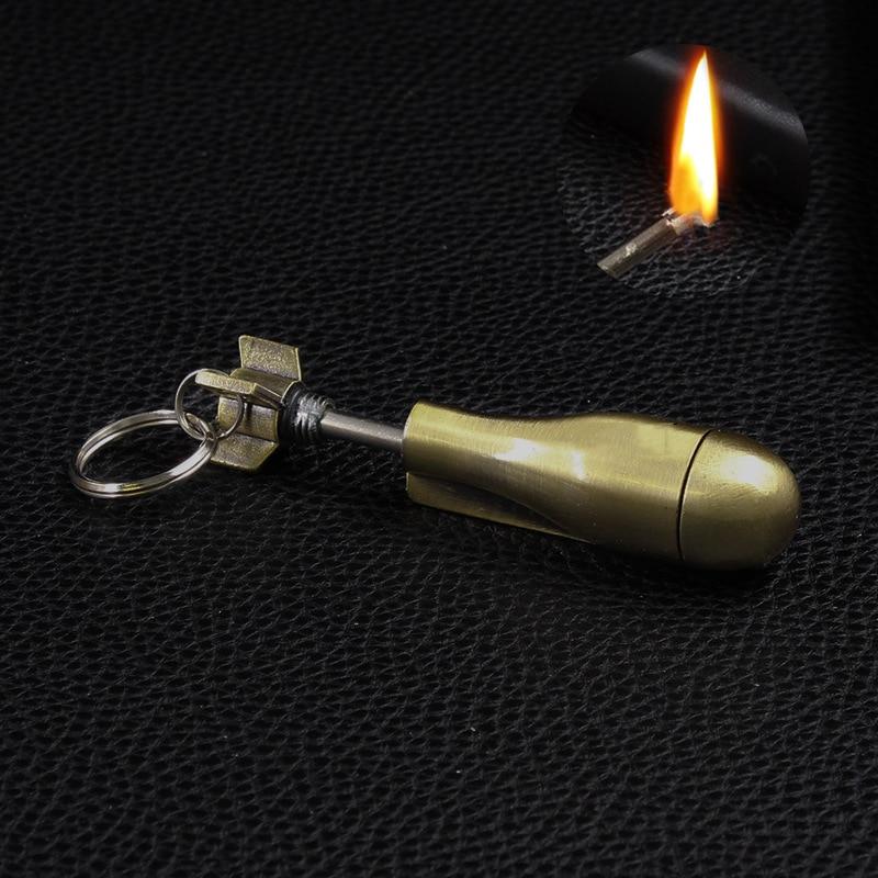 Ferramenta de sobrevivência ao ar livre flint fogo starter jogo permanente striker chaveiro portátil milhões de vezes chave kit isqueiro