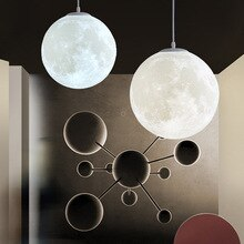 3D Print Moon Pendant Lights Novelty Creative Atmosphere Light 18W AC110-220V Moon Hanging Lamp For