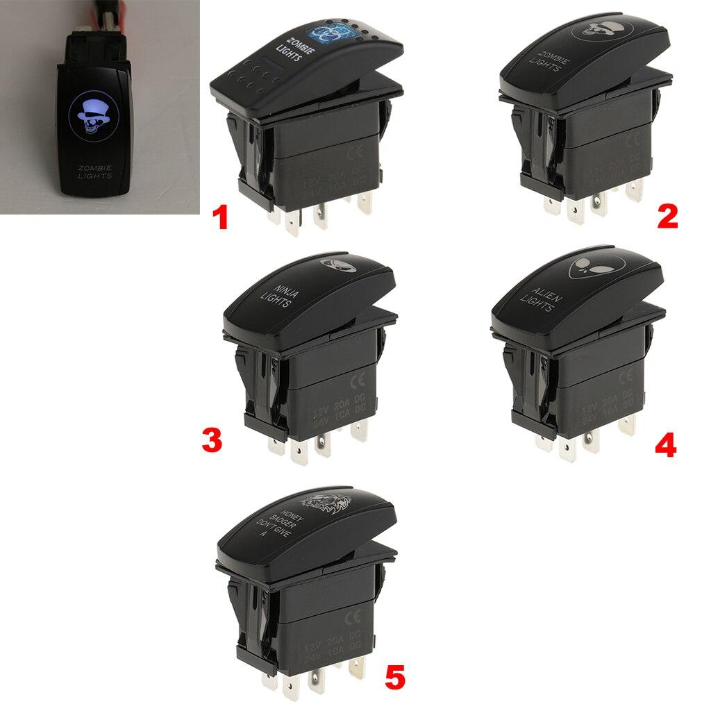 5-Pin On/Off Blue LED Light Push Button Rocker Switch for Car Boat Skull