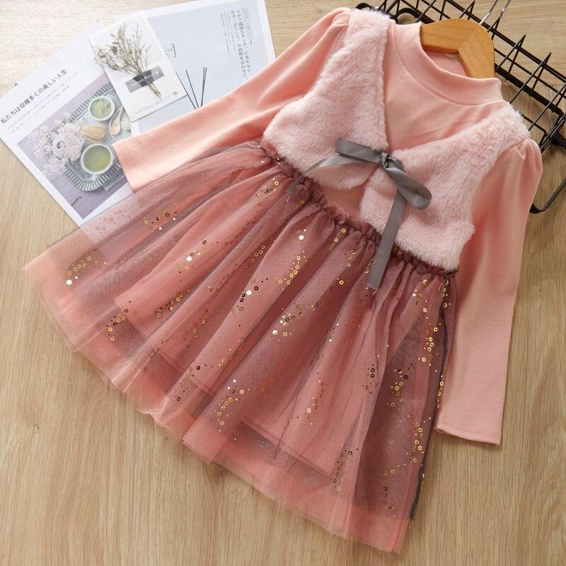 Vestido da menina do bebê 1-6 t da criança crianças meninas bonito malha costura falso duas peças colete de fundo longo mangas compridas doce princesa vestido