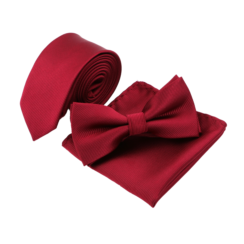 Hot Fashion Solid Neck Tie Set Mens Designer Skinny Striped Necktie Bowtie Handkerchief Suit Ties Cravat Butterfly Corbatas