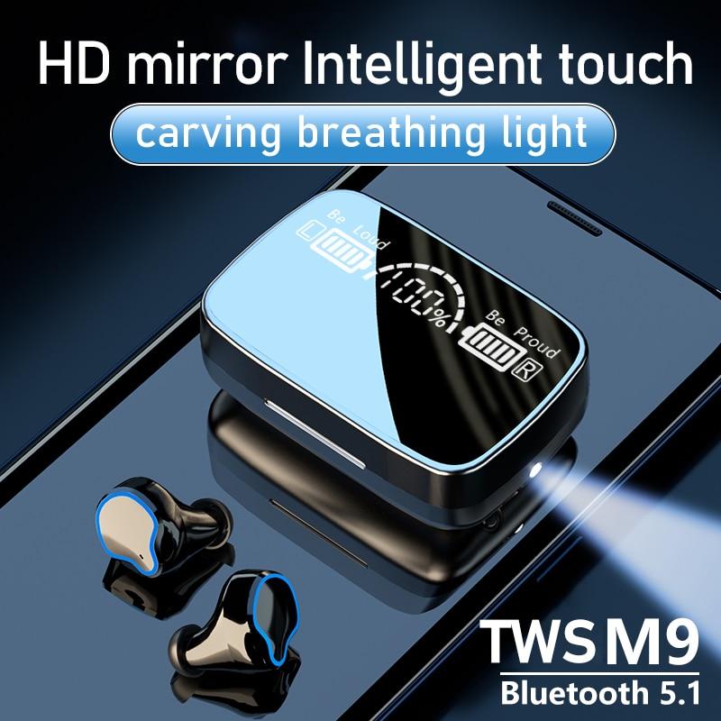 TWS M9 سماعات بلوتوث 5.1 سماعات لاسلكية 9D Hifi سماعات أذن استريو الألعاب سماعات رأس رياضية HD مرآة 2200mah صندوق شحن