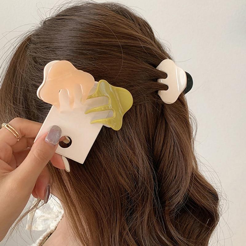 Creme Farbe Kleine Greif Clips für Frauen Mädchen Kunststoff Kleine Haar Krabben Klaue Barrettes Mini Haarnadel Mode Zubehör