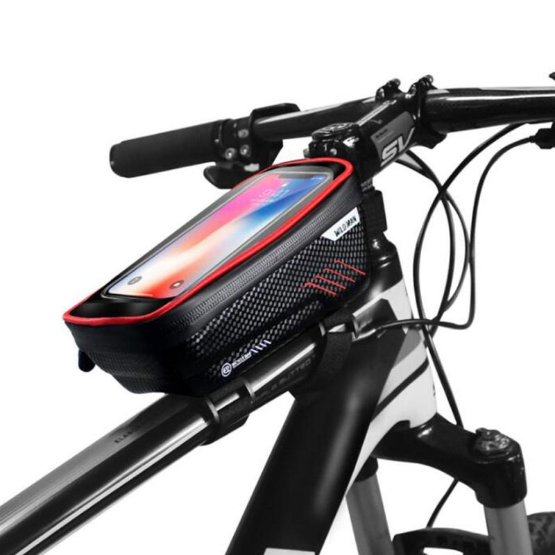 WildMan-Bolso para bicicleta, con barra delantera, resistente al agua, para teléfono móvil o bicicleta de montaña, con pantalla táctil, para parte superior del tubo, bolsa para SILLÍN, accesorios para bicicleta